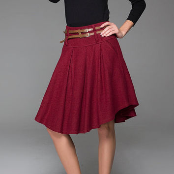 Lovely Elegant Wine Red Wool Skirt With Belt Geometric Shape Hem Skirt 1427