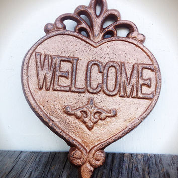Ornate Heart Welcome Sign Wall Art - Metallic Cinnamon Copper - Shabby Chic Outdoor