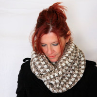 Infinity scarf with stripes in taupe, beige, ivory, winter fashion, Andromeda