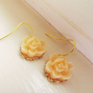 Coral Floral Earrings- Light coral rose dangle earrings- So sweet and adorable, 4tasteofshabbychic