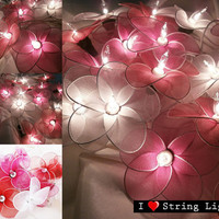 Red tone Colour Set Nylon flower fairy String Lights For Wedding and House decoration (20 Flowers/Set)