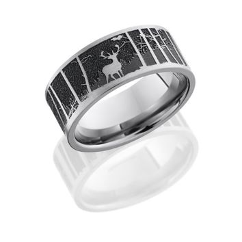Titanium 9mm Wide Laser Carved Elk and Mountain Design Wedding Band