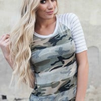 Camo Raglan Tops with Striped Sleeve | Camo Shirt