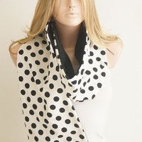 Dotted Fluffy Coton Black and White Scarf, Shawl
