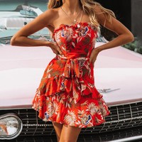Summer Newest Women Sexy Strapless Print Sleeveless Backless Dress