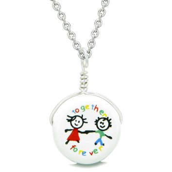 Handcrafted Cute Ceramic Lucky Charm Best Friends Together Forever Amulet Pendant 18 Inch Necklace