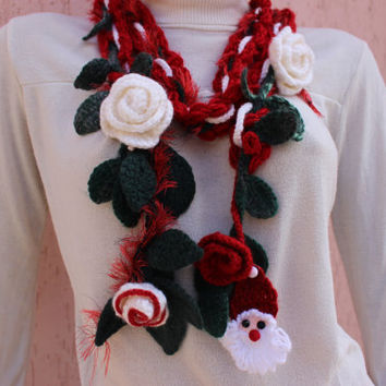 Santa Scarf Necklace Leaf Scarf Lariat Scarf Christmas Crochet Scarf EXPRESS SHIPPING Buy 2 Get 1 FREE