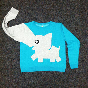 Teal ELEPHANT CREWNECK by MontonMade on Etsy