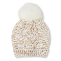 Girls Sparkle Cable Pom Pom Beanie | The Children's Place