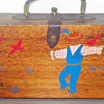 Vintage Painted Wood Box With Leather Buckle Closure