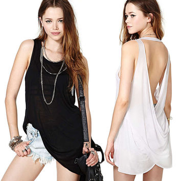 Solid Halter Overlapping Open Back Top
