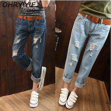 OHRYIYIE Plus Size 6XL Women High Waist Jeans White Ripped Jeans For Women 2017 New Boyfriend Pants American Apparel Jeans Femme