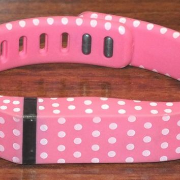 Fitbit Flex Pink Pok A Dots Bluetooth Wireless Activity + Sleep Tracker(Size SM)