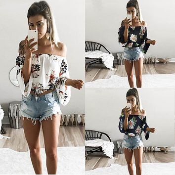 TEMOFON Sexy Summer Woman Blouse Tops Tees Print Style Bohemian Chffion Shirts Slash Neck Casual Women Plus Size Clothing ELD706