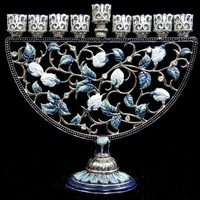 Menorah, Jeweled, Blues, 7""