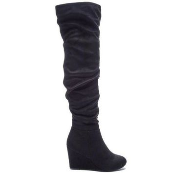 Chinese Laundry Ultra   Black Suede Wedge Boot