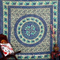 Hippie Hippy Wall Hanging , Indian Elephant Mandala Tapestry Throw Bedspread Queen Bed Decor Sheet Ethnic Decorative Art Table Cloth