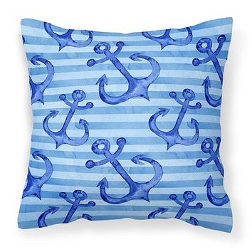 Beach Watercolor Anchors Fabric Decorative Pillow BB7533PW1414
