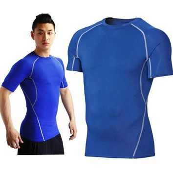 PEAPFS2 Men Compression Skin Base Layer Tight T Shirt Fitness Running Training Gym Workout Shirts Tops Tees S-XXL