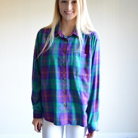 Vintage Koret Colorful Flannel Long Sleeve Blue Purple Teal Plaid Shirt Tumblr Flannel Large Lg L Mens Womens Unisex Colorful Flannel Shirt