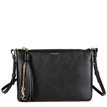 SAINT LAURENT WOMEN'S 412674CWU0J1000 BLACK LEATHER SHOULDER BAG