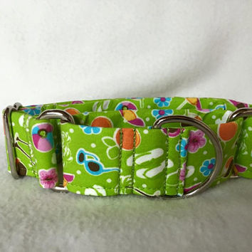 "Beach Party Sunglasses & Flip Flops Bright Green Martingale or Quick Release Collar 1"" Martingale Collar, 1.5"" Martingale Collar"