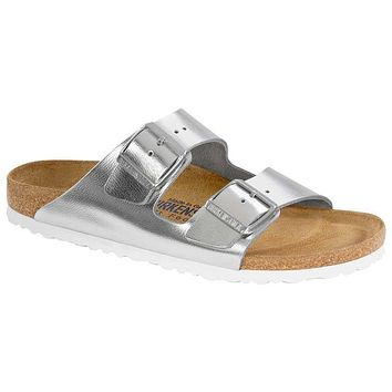 Birkenstock Arizona Soft Footbed Leather Sirocco Silver 1000062 Sandals