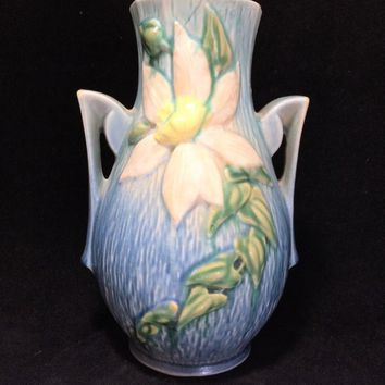 Roseville Pottery Blue Clematis Vase, 108-8 Inch, Double Handles, Authentic 1940s Home Decor 718m