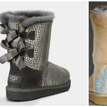 ICIK8X2 Swarovski Crystal Embellished Holiday Limited Edition Bailey Bow Bling Uggs - Winter /