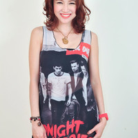 Sexy Chiffon One Direction Midnight 1D Memories Punk Rock Tank Tops Tee Shirt Women Girl Sz S,M,L