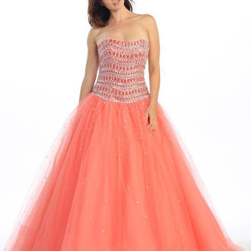 Strapless Studded Bodice Coral Long Quinceanera Gown