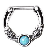 Vintage Opal Septum Clicker Ring 16g Silver Tone