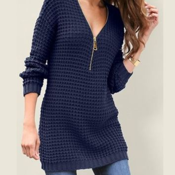 Explosion models sexy V-neck long-sleeved knit dress women autumn and winter models