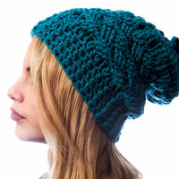Petrol hand crocheted hat with pom pon, Women hat, Winter accessory, fall fashion
