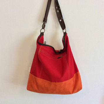 Huge red and orange backpack, cruelty free backpack,  vegan backpack, red back pack, womens backpack, cotton backpack, large backpack, vegan