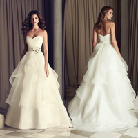 2015 New Tulle Tieres A-line Wedding Dresses Sweetheart Strapless Wedding Gown With Flower Bridal Gown vestido de noiva 4514954