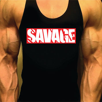 Savage Workout Tank, Bodybuilding Tank Top, Men Workout Shirt, Racerback Singlet Y-Back, Muscle Tee, Men Fitness, Gym Tank Top, Workout Tank