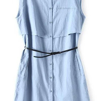 Light Blue Sleeveless Bottons Down Dress With Belt