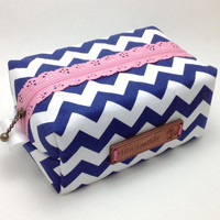 Chevron Cosmetic Bag. Navy Make up Bag. Cosmetic Pouch. Boxy Makeup Bag. Bridesmaids Gift. Toiletry Bag. Zipper Bag.
