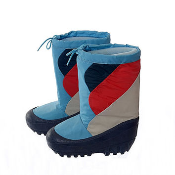 Vintage 80s Moon Boots 1980s Lasco New Wave Mod Navy Blue Red Silver Skiing Snowboard Party Apres After Ski Boots / Mens 5-6 / Womens 8-9
