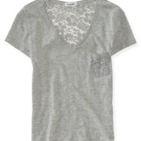 Lace Back V-Neck Tee - Aeropostale