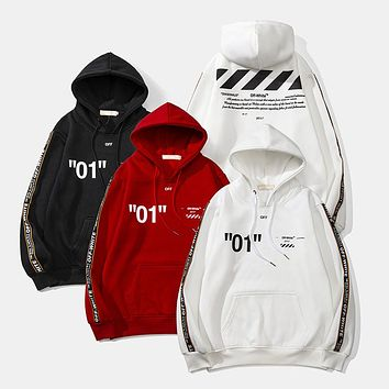 OFF-WHITE 2018 autumn and winter new string and velvet men and women hooded sweater