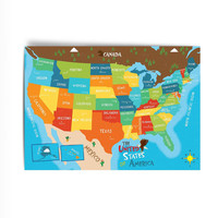USA Map Art Print - US States and Capitals - Fine Art Print on Heavy Weight Textured Paper