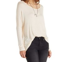 Pale Blush Slouchy Dropped Shoulder Top by Charlotte Russe