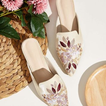 Floral Embroidered Point Toe Flat Mules