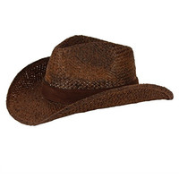 Straw Cowboy Hat W/ Vegan Leather Band & Beads, Shapeable Brim, Beach Cowgirl (brown)