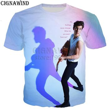 New arrive popular star shawn mendes t shirt men/women 3D printed t-shirts Harajuku style tshirt streetwear summer tops