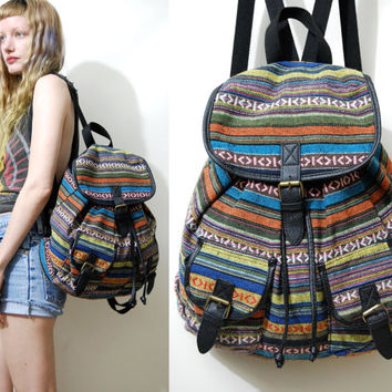 90s Vintage BACKPACK Woven Tribal Ethnic Rucksack School Bag Bohemian Boho Hippie Grunge Colourful rainbow Stripe 1990s vtg
