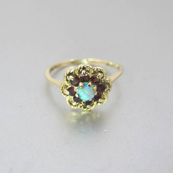 Victorian Gold Opal Ring. Antique Opal Garnet Halo Flower Ring. 14K Yellow Gold. Alternative Engagement Ring. January Birthstone.