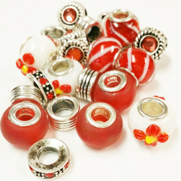 20 Assorted Large Hole Beads for Jewelry Making | Jewelry Supply | Large Hole Beads | Wholesale Beads | Red and silvertone Large Hole Beads